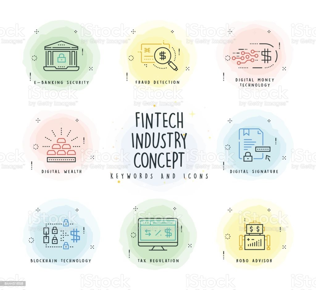 Fintech Industry Line Icon Set with Watercolor Patch vector art illustration