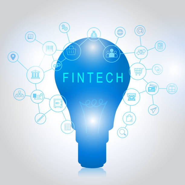 ilustrações de stock, clip art, desenhos animados e ícones de fintech investment financial internet technology concept - phone, travelling, copy space