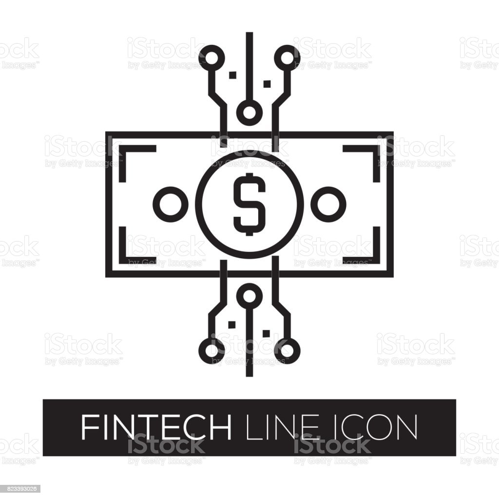 Fintech Line Icon vector art illustration