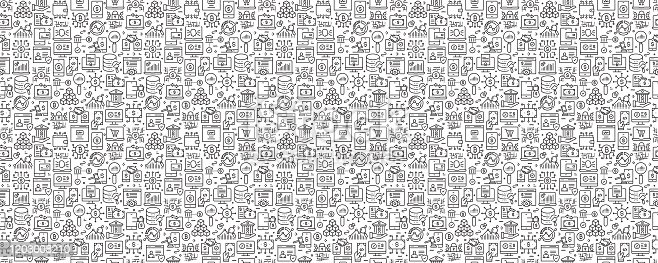 Fintech Related Seamless Pattern and Background with Line Icons