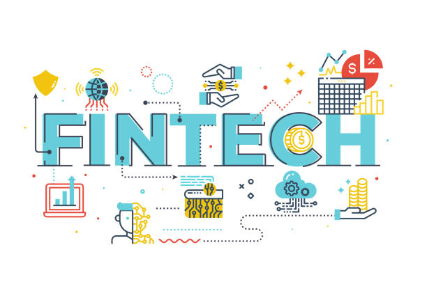 Fintech (Financial Technology) word lettering illustration vector art illustration