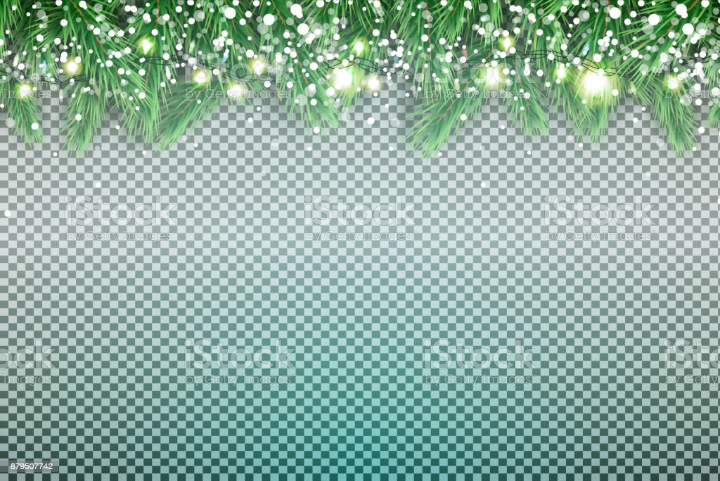 Fir Branch with Neon Lights and Snowflakes on Transparent Background. vector art illustration