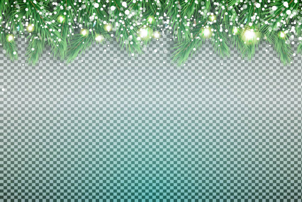 fir branch with neon lights and snowflakes on transparent background. - holiday backgrounds stock illustrations, clip art, cartoons, & icons