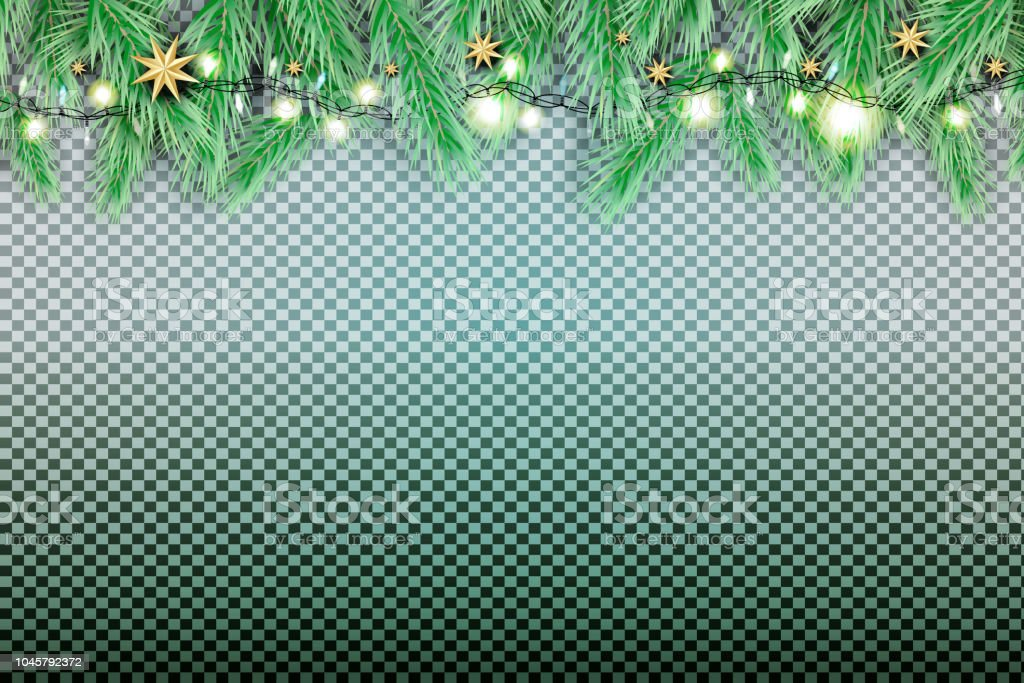 Fir Branch with Neon Lights and Stars on Transparent Background. vector art illustration