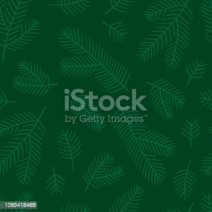 istock Fir branches seamless pattern. Illustration of green shades. 1265416469