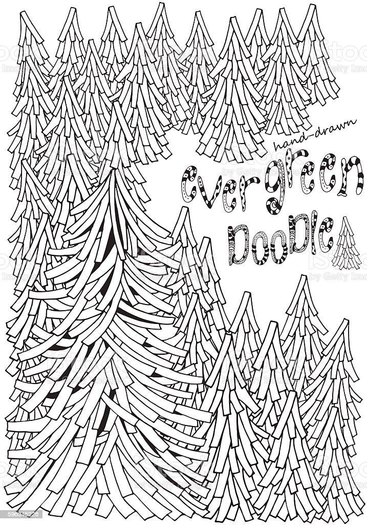 Fir Doodle. Evergreen forest. Adult coloring book page. Lizenzfreies fir doodle evergreen forest adult coloring book page stock vektor art und mehr bilder von ausmalen