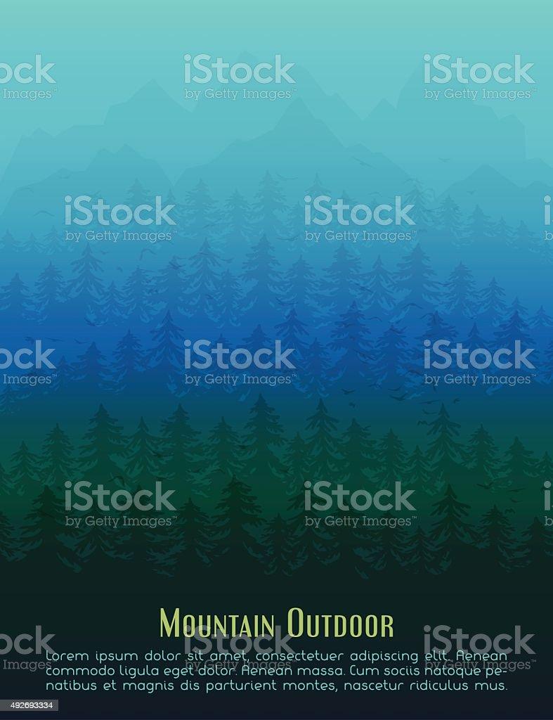 Fir mountain forest in the fog vector art illustration