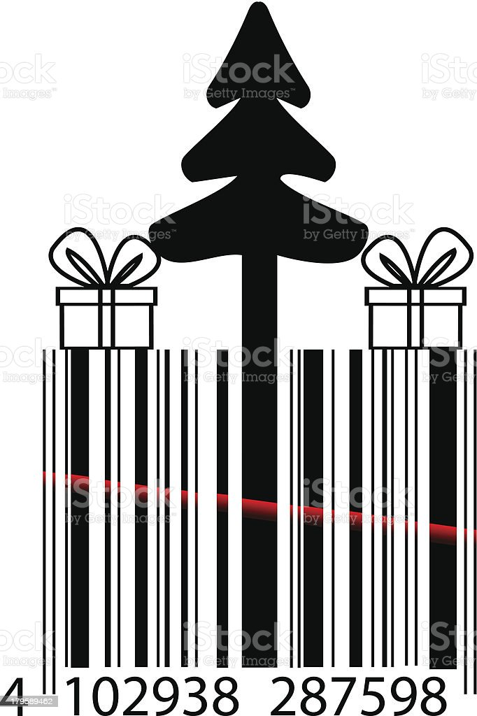 Fir tree and gifts bar code design royalty-free stock vector art