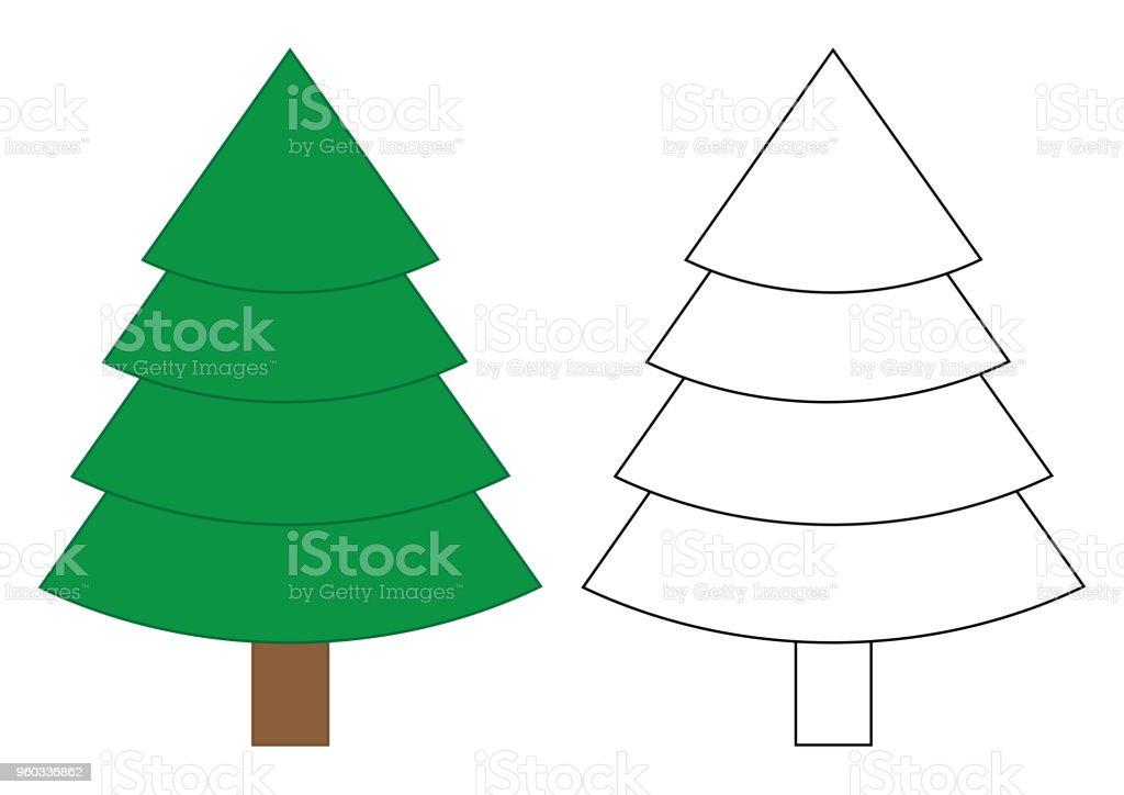 Ilustración De Dibujos Animados De árboles De Abeto Página Para
