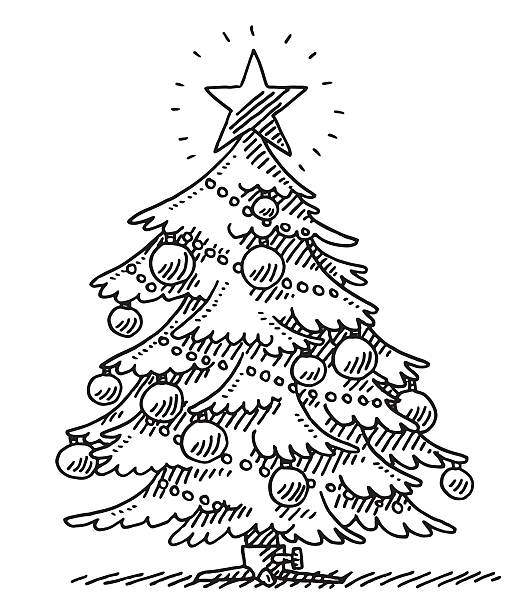 Fir Tree Christmas Decoration Drawing Hand-drawn vector drawing of a Fir Tree with Christmas Decoration. Black-and-White sketch on a transparent background (.eps-file). Included files are EPS (v10) and Hi-Res JPG. celebration stock illustrations