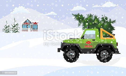 Fir tree delivery with offroad and winter landscape. Flat and solid color christmas tree for your design. Vector illustration.