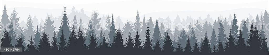 Abeto bosque panorama - ilustración de arte vectorial
