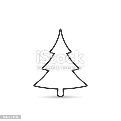 Fir tree outline icon. Spruce vector silhouette for decoration.