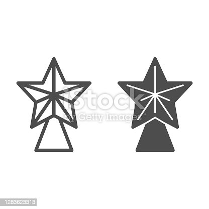 Fir tree star line and solid icon, Christmas concept, Christmas tree toys sign on white background, Christmas tree tip icon in outline style for mobile concept and web design. Vector graphics
