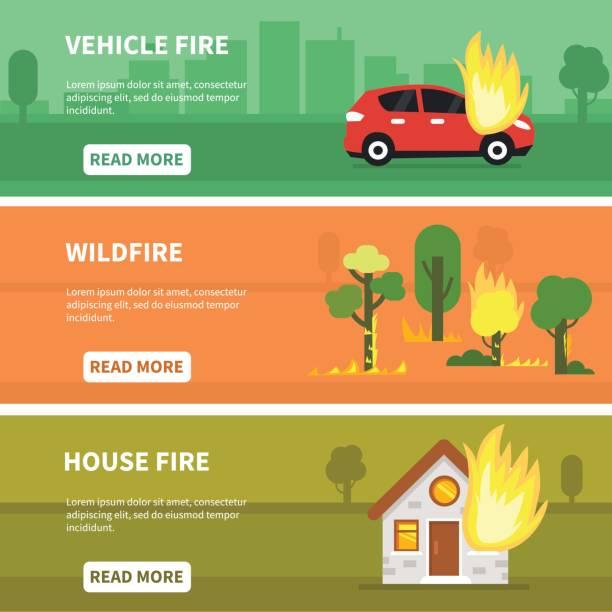 stockillustraties, clipart, cartoons en iconen met brand ongevallen - illustraties van bosbrand