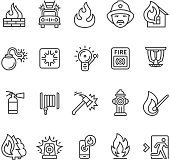 Fire alarm and fire department icons collection.