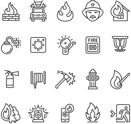 Fire Alarm And Department Icon Stockvectorkunst en meer beelden van Alarm