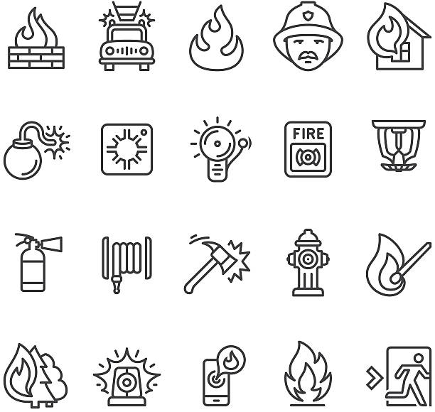 Fire alarm and department icon Fire alarm and fire department icons collection.  fire hose stock illustrations