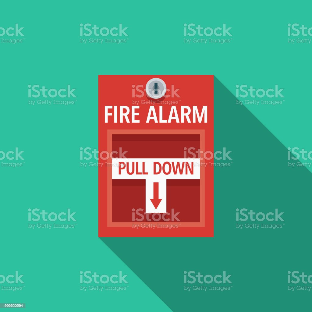 Fire Alarm Flat Design Emergency Services Icon vector art illustration