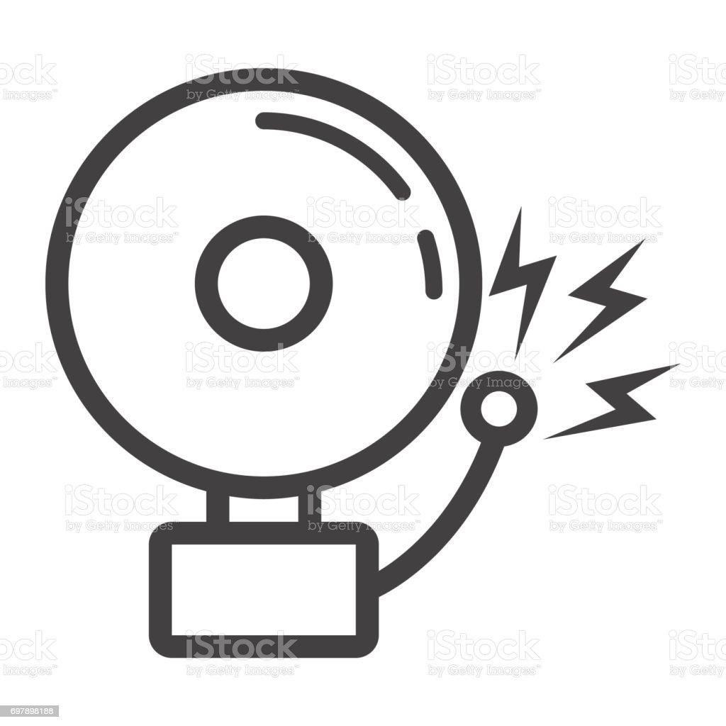 화재 경보 선 아이콘 침입자 경보 및 보안 벡터 그래픽 흰색 배경 Eps 10에 선형 패턴 경계 표지에 ...