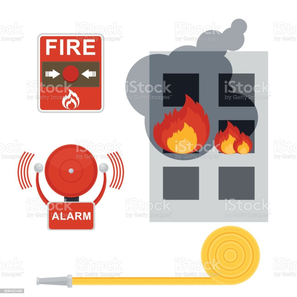 fire alarm set vector art illustration