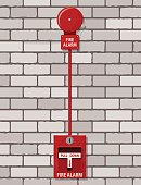 Fire alarm system at brick wall. Fire equipment. Vector illustration in flat style