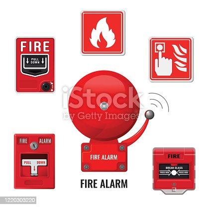 Fire alarm system icons set. Red ringing bell. Vector