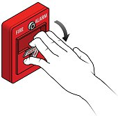 Fire alarm switch.Break glass and press button to activate. With hand and direction arrow.