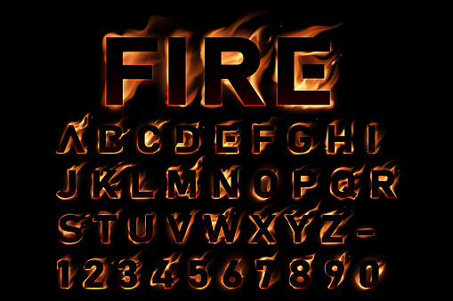 Fire alphabet on black background in vector