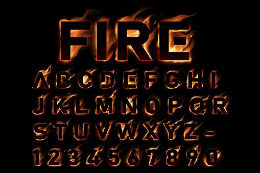 Fire alphabet on black background