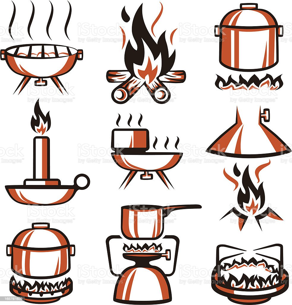 Fire and Cooking Elements vector art illustration