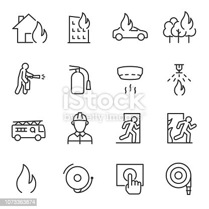Fire and firefighting, icon set. fire prevention and elimination. Line with editable stroke