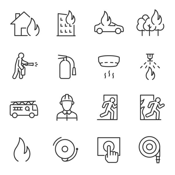 Fire and firefighting, icon set. fire prevention and elimination, linear icons. Line with editable stroke Fire and firefighting, icon set. fire prevention and elimination. Line with editable stroke emergency equipment stock illustrations