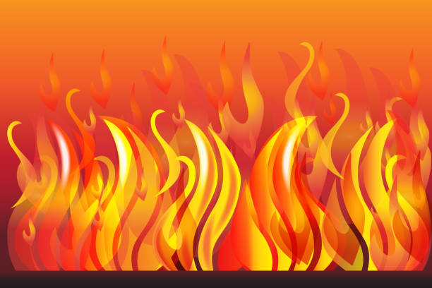 ilustrações de stock, clip art, desenhos animados e ícones de fire and flames background vector image web template - burned oven