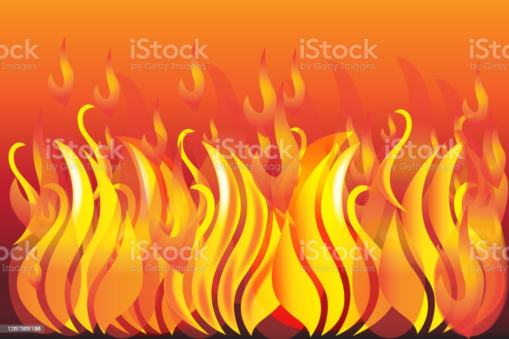 Fire and flames background vector image web template - Royalty-free Abstrato arte vetorial