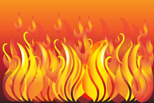 Fire And Flames Background Vector Image Web Template - Arte vetorial de stock e mais imagens de Abstrato