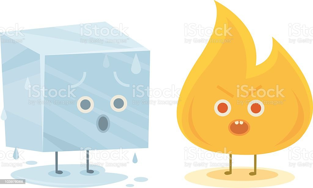 Fire and Ice Characters vector art illustration