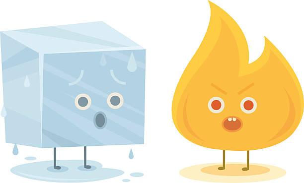 illustrazioni stock, clip art, cartoni animati e icone di tendenza di fuoco e ghiaccio di caratteri - ice on fire