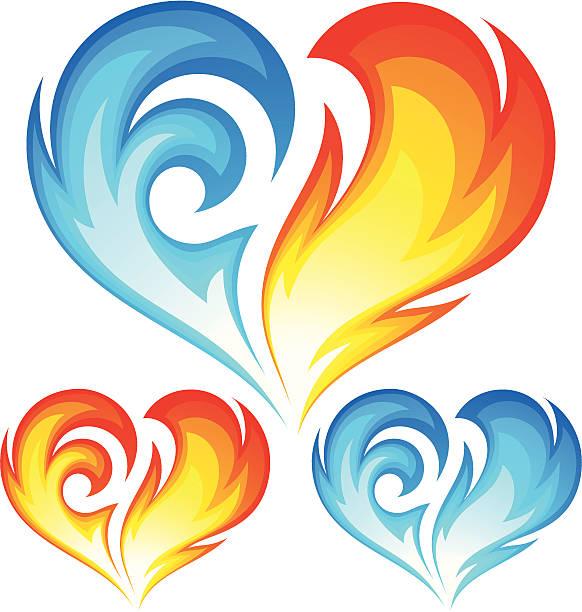 illustrazioni stock, clip art, cartoni animati e icone di tendenza di fuoco e ghiaccio cuore vettoriale. simbolo di amore - ice on fire