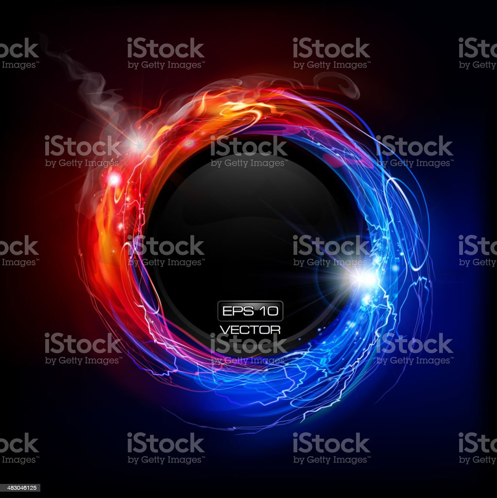 Fire and Lightning concept vector art illustration