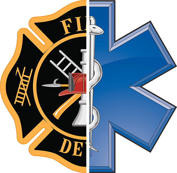 Fire and Rescue Fire and Rescue is an illustration of a combination firefighter symbol and a rescue symbol design in full color. maltese cross stock illustrations
