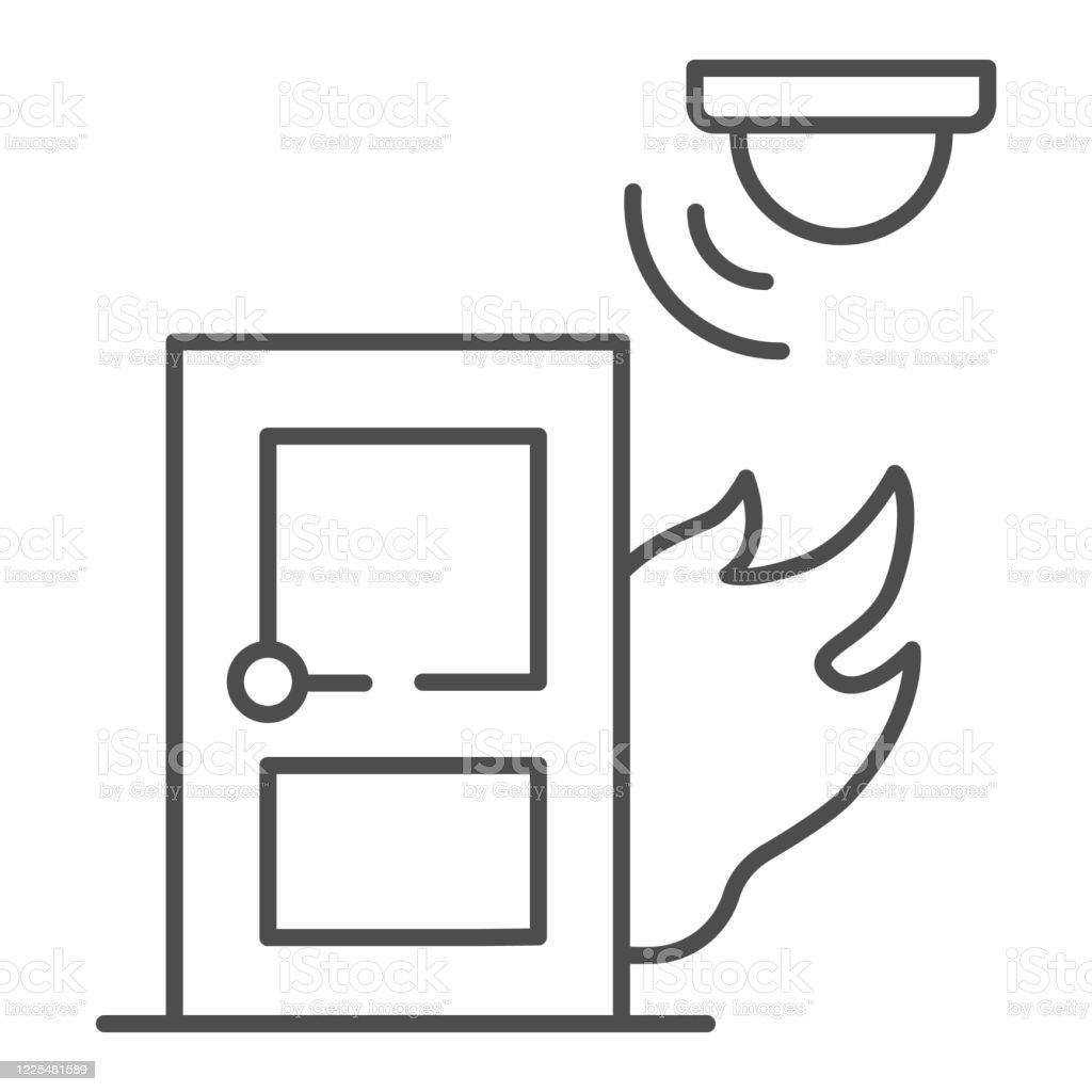 Fire And Smoke Sensor Near Door Thin Line Icon Smart Home Symbol Smart Smoke Detector Vector Sign On White Background Electronic Smoke Alarm System Icon In Outline Style Vector Graphics Stock Illustration