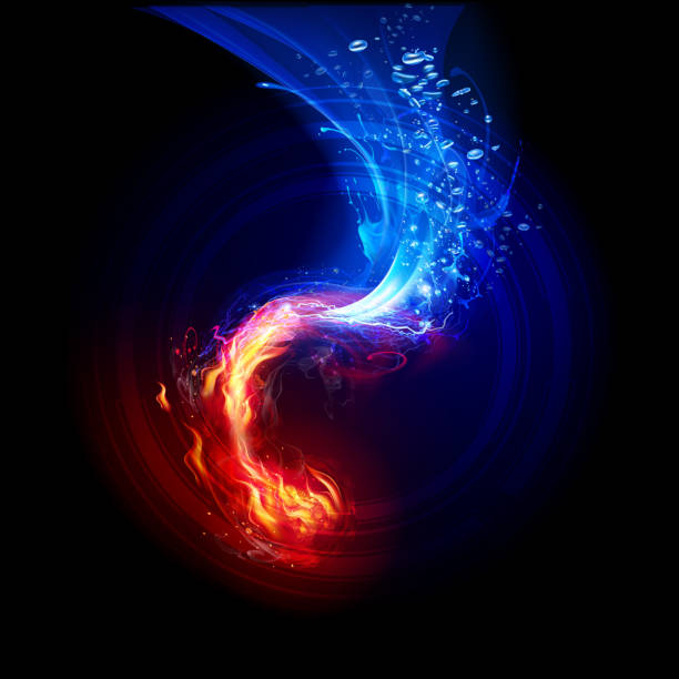 FIre and  Water Backgrounds vector art illustration