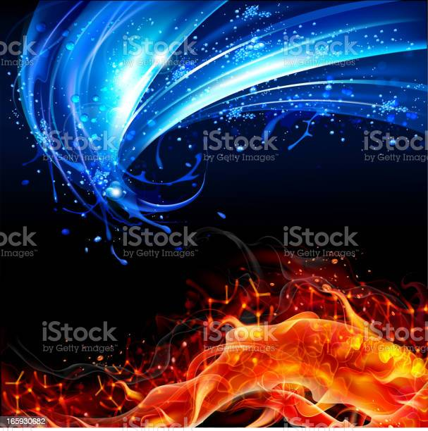 Fire And Water Concept Background Stock Illustration - Download Image Now