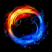 Fire and water design concept isolated on black background. 10 EPS file with transparency effects and overlapping colors.