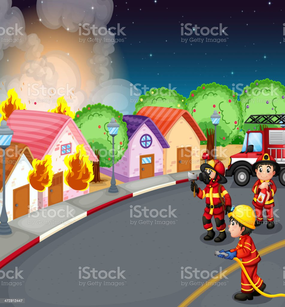 fire at the village royalty-free fire at the village stock vector art & more images of accidents and disasters