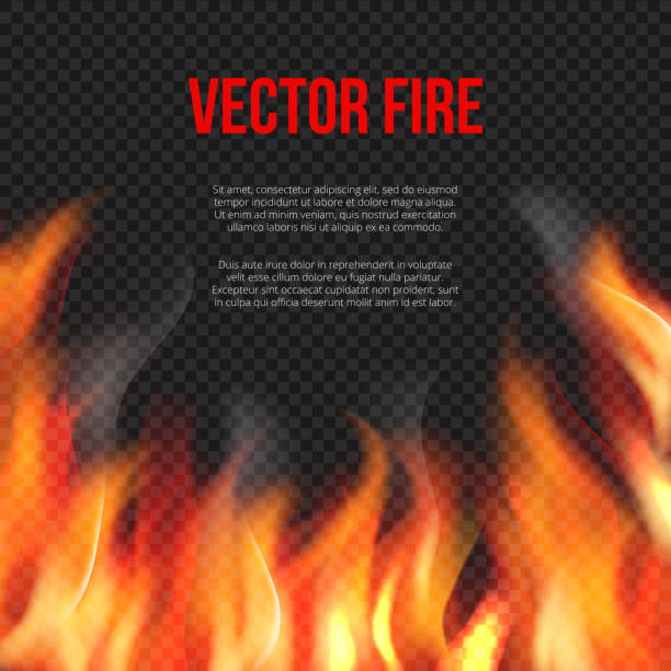 feuer hintergrund. licht der lodernden flamme auf transparenten hintergrund vektor explosion vektor vorlage - feuer stock-grafiken, -clipart, -cartoons und -symbole