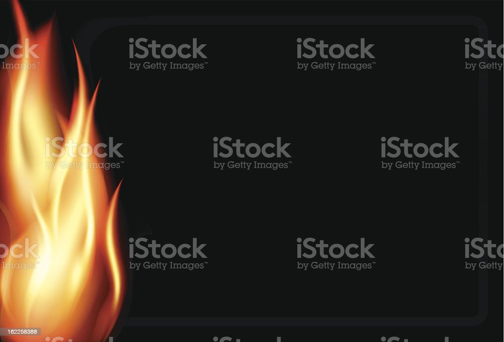 Fire background with smoke border vector art illustration