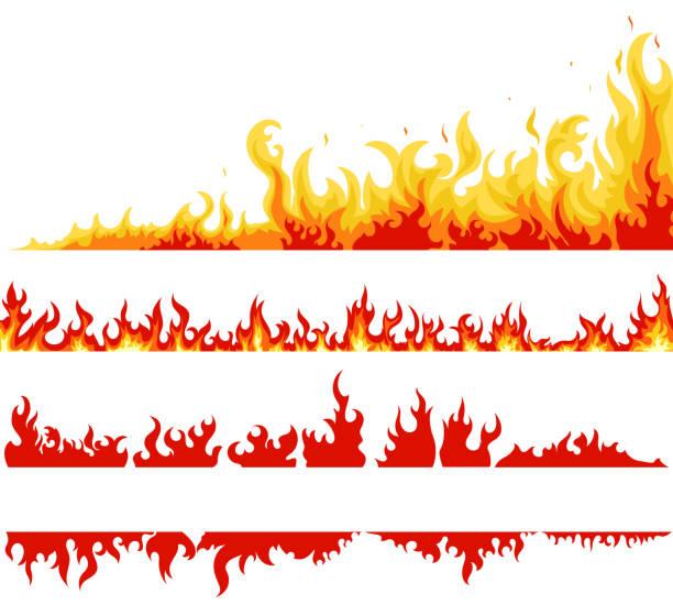 Fire banner, fame backgrounds, vector Fire banner set, fame backgrounds, Horizontal bonfire template for web or brochure, explosion decoration. Vector flame stock illustrations