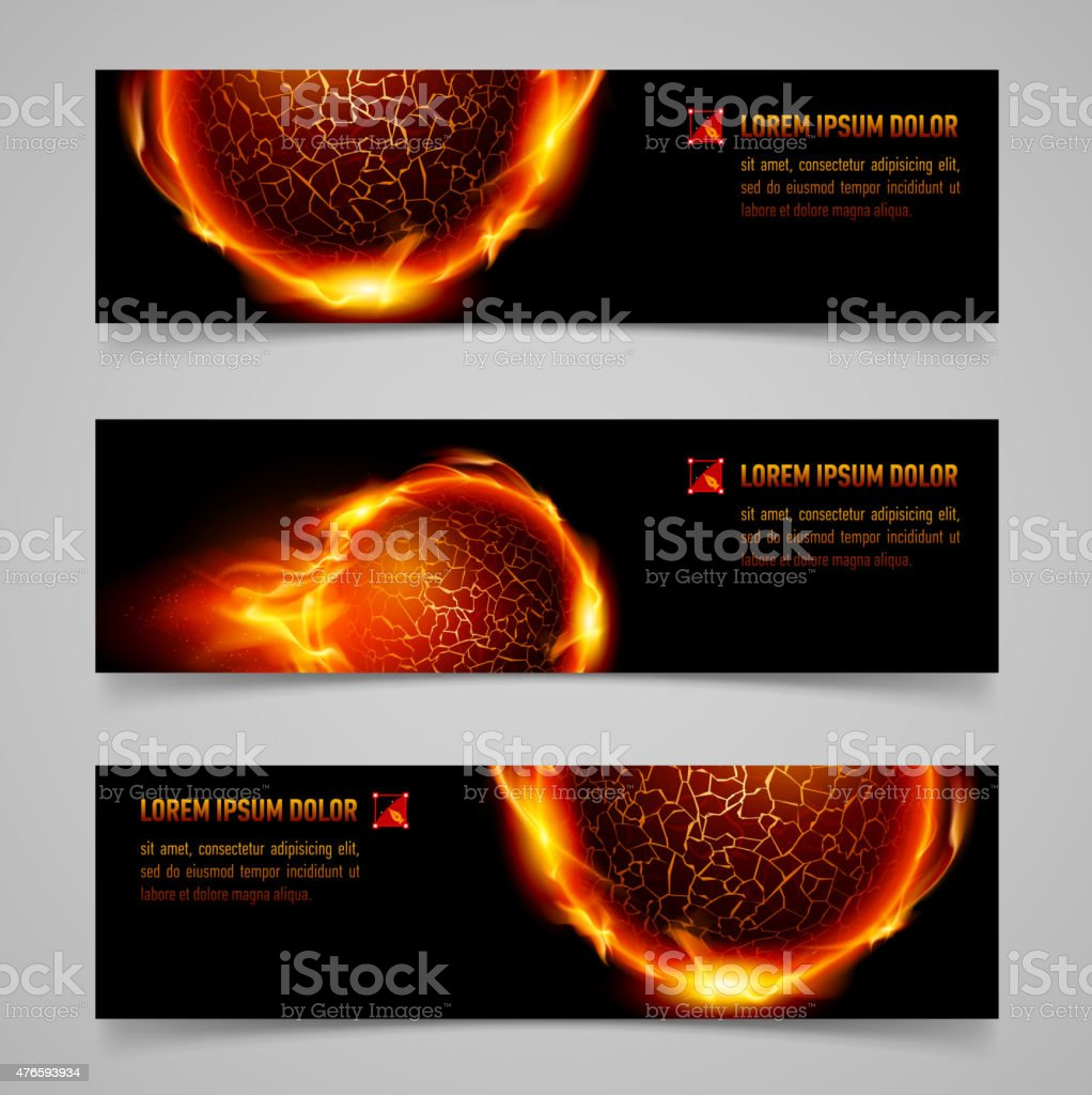 Fire banners vector art illustration